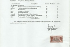 Lency G Tolentino results 2014 15